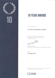 Termrim Construction Ltd has achieved the Investors in People 10 Year Award.