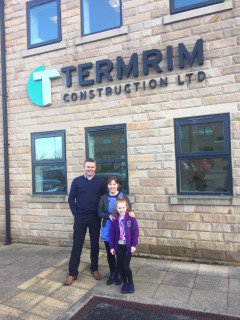 Ruby Ineson with Mum Joanne Ineson and Termrim Construction MD Graeme Bird.